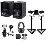 2) Rockville APM8B 8' 500w Powered Studio Monitors+Stands+Pads+Headphones+Mic