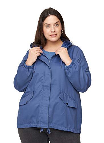 Zizzi Große Größen Damen Kurze Jacke mit Taschen und Kapuze Gr 50-52 Blau