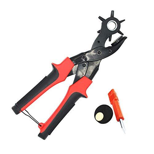 YAOUFBZ El Nuevo alicate perforador Giratorio,Herramienta Perforadora para Cuero y cinturón,alicates perforadores Reforzados con 2 Placas perforadoras adicionales y Destornillador