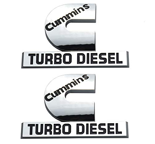 2 Pack Cummins Turbo Diesel Emblems, Badges High Output Nameplate Small Size Replacement Sticker for 2500 3500 Fender Emblem (Chrome)