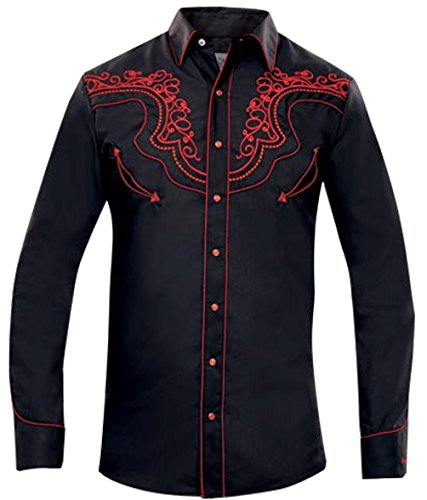 Modestone Men's Long Sleeved Fitted Western Camicia Cowboy Filigree Embroidered Black