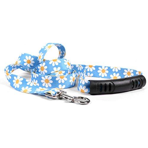 Yellow Dog Design Blue Daisy Ez-Grip Dog Leash with Comfort Handle 1