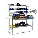 Banco de trabajo BT1 con cajón Simonwork Galva/Madera Simonrack 1445x1210x610 mms - Banco de trabajo resistente - mesa de trabajo industrial 600 Kgs de capacidad por estante