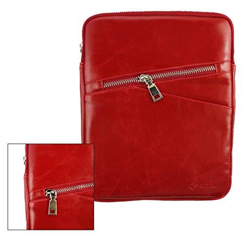 emartbuy® Rot Crossbody ReisenMessengerBagTascheHülleinPremium PU Leder mitgepolstertenInnenraumundSchulterriemenfürgeeignet Odys Tablet PC 4