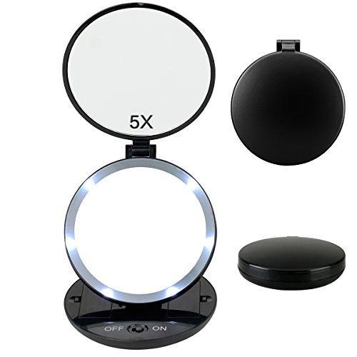 Fypo LED Miroir de maquillage Pliage à Deux Côtés 1X ou 5X Surface de Mirroir 11,43 cm pour le maquillage dans l'obscurité SPA Voyage (Miroir à Main)