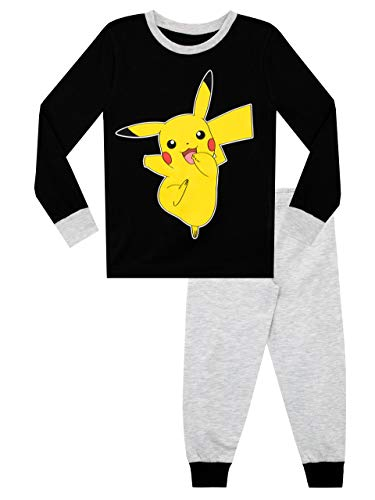 Pokemon Pijamas de Manga Larga para niños Pikachu Negro 10-11 Años