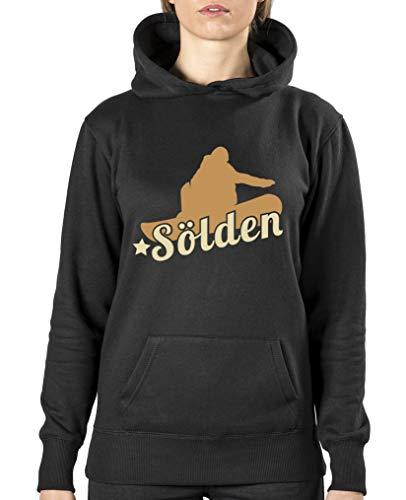Comedy Shirts - Soelden Snowboard - Damen Hoodie - Schwarz/Hellbraun-Beige Gr. S
