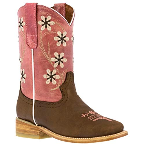 Kids Pink Western Cowboy Boots Floral Stitched Leather Square Toe 8 Toddler