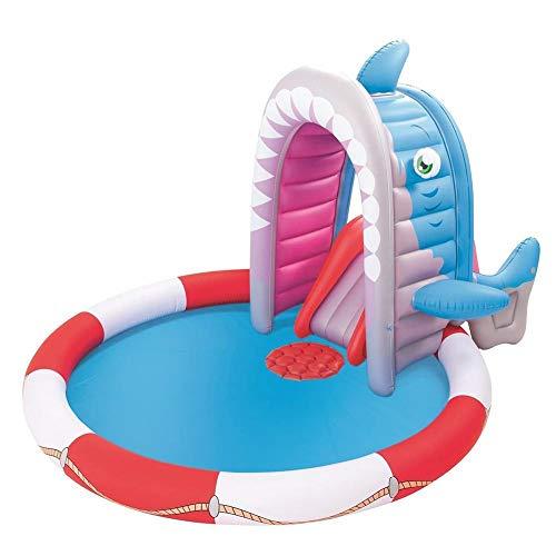 cheerfulus-1 93x78x55 Zoll Hai aufblasbarer Pool Spielcenter,Kinder Schwimmbad,Spritzen Schwimmbad,aufblasbares Poolspielcenter mit Rutsche für Baby, Kleinkinder, Alter 2+