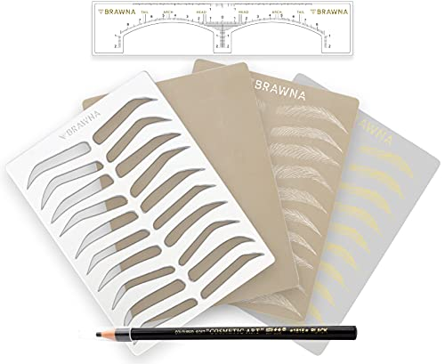 BRAWNA Eyebrow Microshading & Microblading Kit for Professionals and Beginners: 25pcs Brow Ruler Stickers, 3pcs Inkless Practice Skins, 1 Reusable Eyebrow Practice stencil