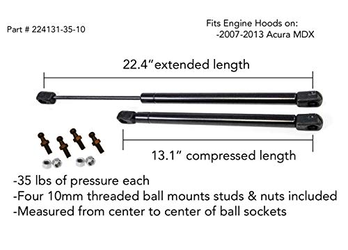 2 Truck Upfitters MDX 2007-2013 Front Hood Gas Props/Lift Supports (22.44' extended, 13.15' compressed, 35 pounds / 155 Newtons of pressure ea). Includes 4 spare ball mounts!