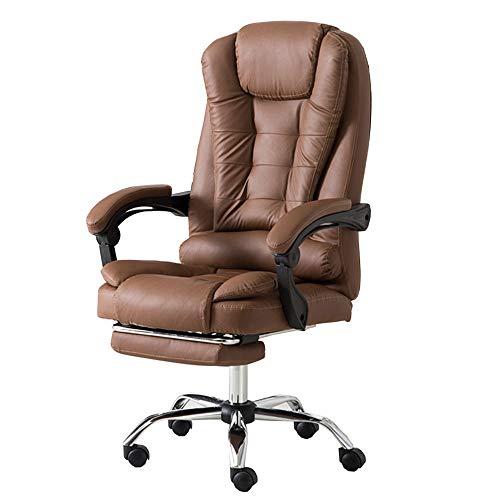 LJFYXZ Chefsessel Liegender Stuhl mit hoher Rückenlehne Ergonomisches Design PU Computer Stuhl Lordosenstütze Teleskop-Fußstütze Lagergewicht 150kg (Color : Brown)