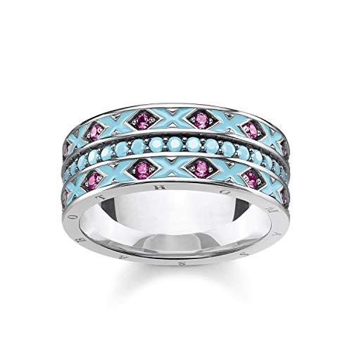 THOMAS SABO Damen Ring asiatische Ornamente 925er Sterlingsilber, Geschwärzt, Türkis Emailliert TR2174-341-17