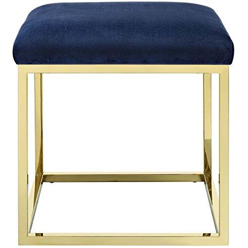 Modway Anticipate Velvet Upholstered Modern Ottoman With Stainless Steel Frame in Gold Navy