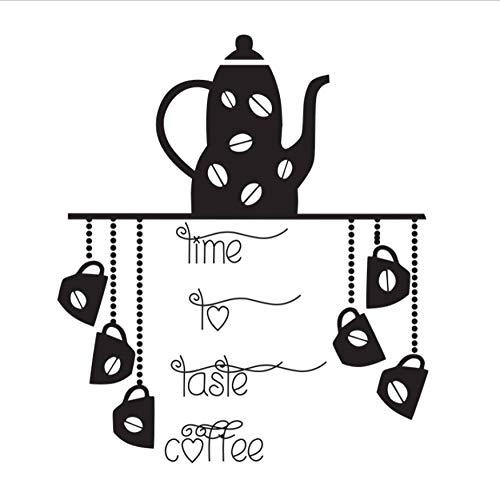 Olivialulu Tijd Proeven Koffie Muur Applique Vinyl Afneembare DIY Muursticker Keuken Koffie Pot en Beker Muurdecoratie Sticker 59 * 68Cm Kleurgrootte kan worden aangepast