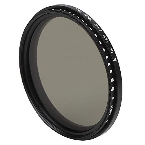 Bindpo Filtro ND de 58 mm, Filtro de Densidad Neutra de Vidrio óptico Ajustable ND2 a ND400, Accesorio de Lente para Canon para Nikon para Sony para Fujifilm para Olympus