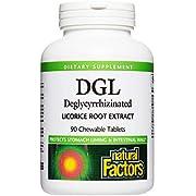 Natural Factors, Chewable DGL 400 mg, Licorice Root, Vegan, 90 tablets (90 servings)