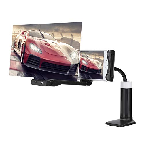 8 inch spalk verstelbare telefoon beugel versterker, HD vergroting 360 ° draaien verstelbare mobiele telefoon scherm versterker Luie beugel scherm versterker beugel vergrotende apparatuur(zwart)