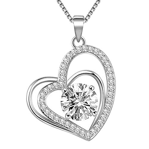 Heart Necklace - Cubic Zirconia Heart Pendant Necklace - Love Heart Necklaces for Women - Jewelry Gifts Necklaces for Mom Wife Girlfriend Daughter