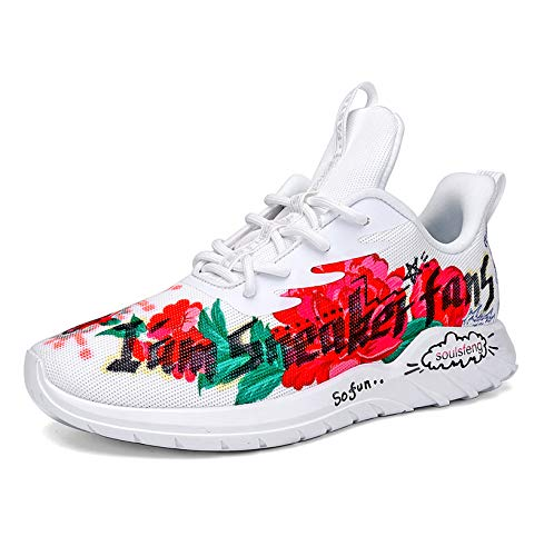 Soulsfeng Mens Running Shoes Sneakers White Flats Low Top Lace Up Hand-Painted Fashion Walking Shoes(US10=EUR44)