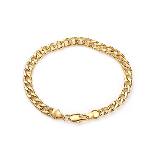 Daimay Placcato oro 18K Gioielli braccialetto Acciaio inossidabile da uomo Link piatto a spina di pesce da polso - 6mm di larghezza - Oro