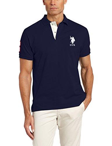 U.S. Polo Assn. Men's Slim Fit Pique Polo, Classic Navy/White, Large