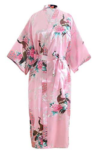 OLESILK Damen Lang Morgenmantel Satin Kimono Kurzarm Robe Bademantel mit Gürtel V-Ausschnitt Nachtwäsche Negligee mit Pfau und Blumen Muster, Rosa
