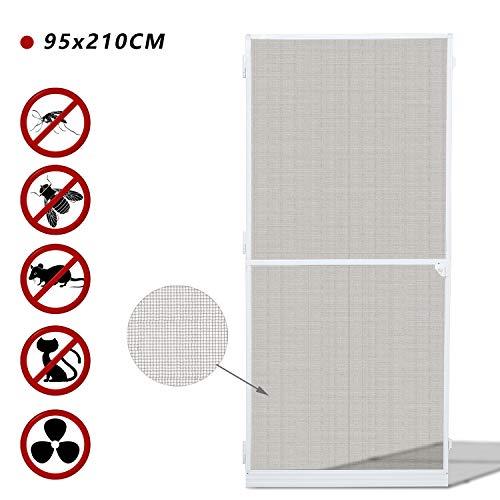 BMOT Fliegengitter tür,95x210CM fliegengitter Gitter insektenschutz tür Wasserdicht Alu-Rahmen fliegengitter fiberglas für Wohnzimmer Fenster Balkone