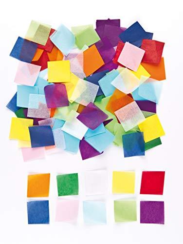 Baker Ross Kleine Quadrate aus Seidenpapier in bunten Farben - für Kinder zum Basteln - als Dekoration - pro Packung