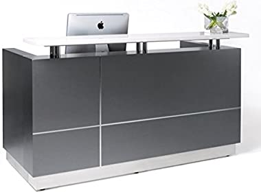 "Modern Space Grey Reception Desk(63"") with Quartz Stone Counter TOP"