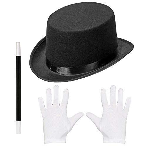 Widmann 00130 Juego de magos, cilindro, guantes y varita mágica, unisex, para niños, negro/blanco, talla única , color/modelo surtido