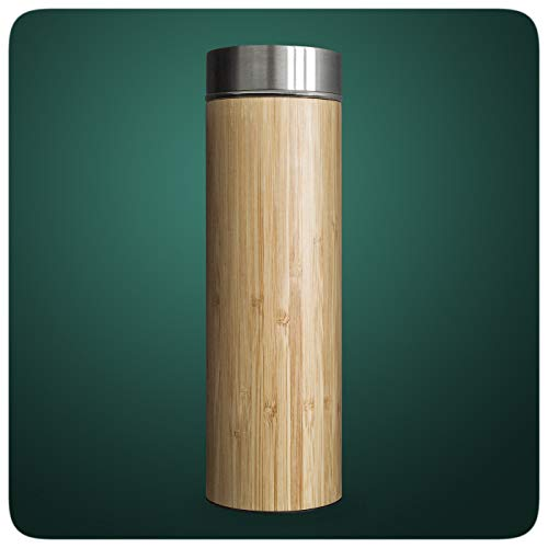 PRECORN Tee-to-go-Flasche Bambus Teeflaschen Teekanne Trinkflasche Thermoflasche Thermobecher Kaffee Trinkflaschen Teebereiter 450ml Edelstahl Sieb
