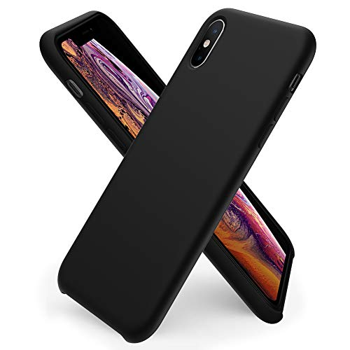 ORNARTO kompatibel mit iPhone XS/X Silikon Case, iPhone XS Hülle Ultra Dünne Flüssig Silikon Handyhülle Schutz für iPhone XS/X(2018) 5,8 Zoll -Mitternachts Schwarz
