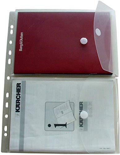 EXXO by HFP 35761 2 Dokumententasche A5 auf A4, Klettverschluss und Abheftrand, 5 Stück mit Kölappe mit Klettverschluss mit 15 mm Füllhöhe, transparent klar