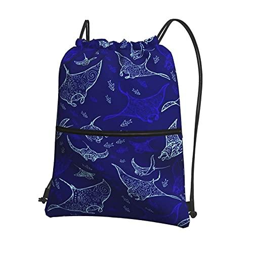 AOOEDM Bolso de la mochila del lazo de Manta Ray y de los pescados con la cremallera, para la yoga del deporte de las compras del gimnasio