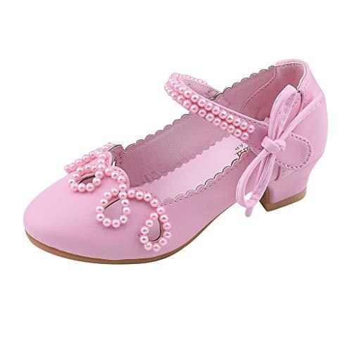Vamoro Kleinkind Kinder Mädchen Pearl Square Heel Lederschuhe Single Princess Schuhe Sandalen Ballerina Ballettschuhe Baby Lauflernschuhe Flache Schuhe(Rosa,28 EU)