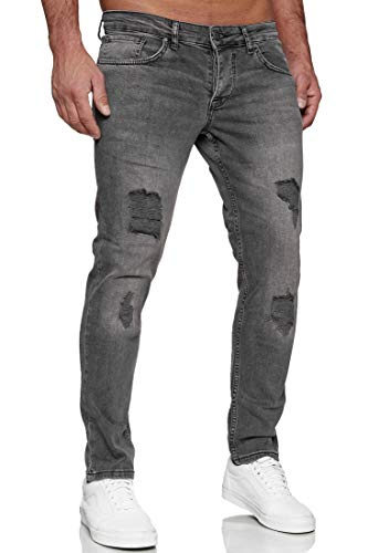 Tazzio Slim Fit Herren Destroyed Look Stretch Jeans Hose Denim 16525, Schwarz, 30W/32L