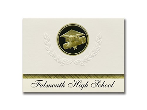 Signature Announcements Falmouth High School (Falmouth, ME) Graduation Ankündigung, Presidential Style, Elite Paket mit 25 Cap & Diplom Siegel Schwarz & Gold