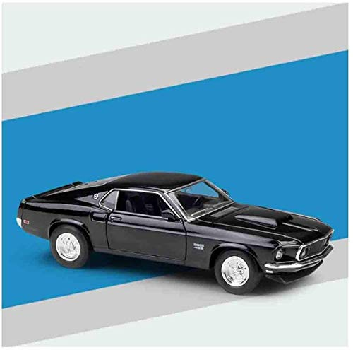 hongshen Druckgussauto Modell 1969 Ford Mustang Boss 429 Zurückziehen Auto 1/24 Legierung Kinderspielzeug Haube und raffinierte Inneneinkürzung geeignet (Color : Black)