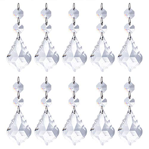 Pack of 10 Replacement Clear Maple Leaf Chandelier Crystal Prisms Pendants Shiny Glass with Octagonal Crystal Beads and Metal Split Ring for Lamp Decoration Jewelry Making (50mm)