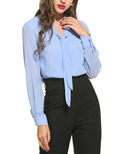 ACEVOG Damen V-Ausschnitt Schluppenbluse Chiffonbluse Langarmshirt Basic Bluse Einfarbig hellblau L, Hellblau