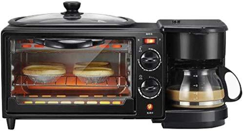Horno de tostadora Horno eléctrico Pequeño horno 3-en-1 Máquina de desayuno 600W...