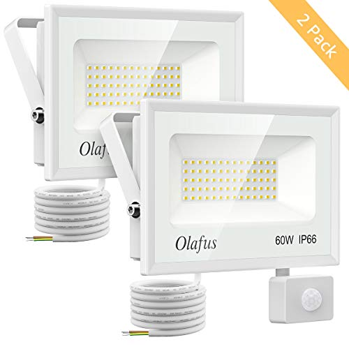 Olafus 2 Pezzi 60W 6600lm Faretto LED Sensore di Movimento 5000K IP66 Impermeabile Proiettore LED Esterno Luce Bianca Fredda Distanza di Sensore 6m-12m Illumina 10s-180s per Corridoio Giardino Garage