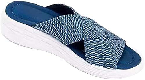 XiuLi Sandalias de cuña para Mujer Sandalias de cuña de Alpargatas Retro Peep Toe Hebilla Correa Cuñas Sandalias para Mujer Moda Mujer Sandalias de Plataforma (Color : Blue, Size : EU:38/UK:5)
