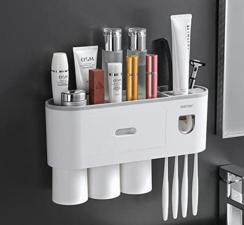 Portaspazzolino multifunzionale, dispenser automatico di dentifricio, scatola portaspazzolino antipolvere a parete, con 3 tazze, 4 scomparti per spazzolino e un cassetto per risparmiare spazio