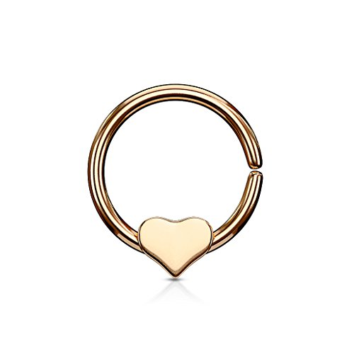 Gekko Body Jewellery Rose Gold Plated Bendable Cut Ring Piercing Hoop met Verwijderbaar Hart