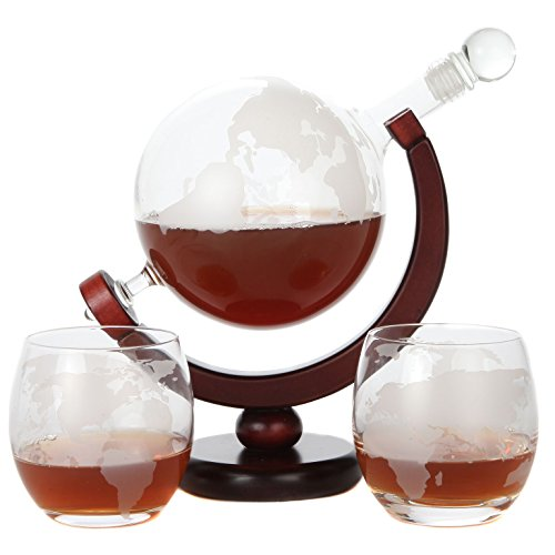 Lily's Home World Globe Whiskey Decanter with Dark Finished Wood Stand, Bar Funnel, and 2 Matching Glasses (850 ml)