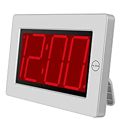 KWANWA Digital LED Wall Clock with 3'' Large Display Battery Operated/Powered Only - White