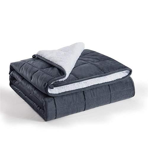 N / A Weighted Blanket,Mantas contra la ansiedad Manta calmante de la Terapia sensorial para un Mejor sueño y Alivio del estrés, 102% algodón,Black and White,203 * 221cm-11kg
