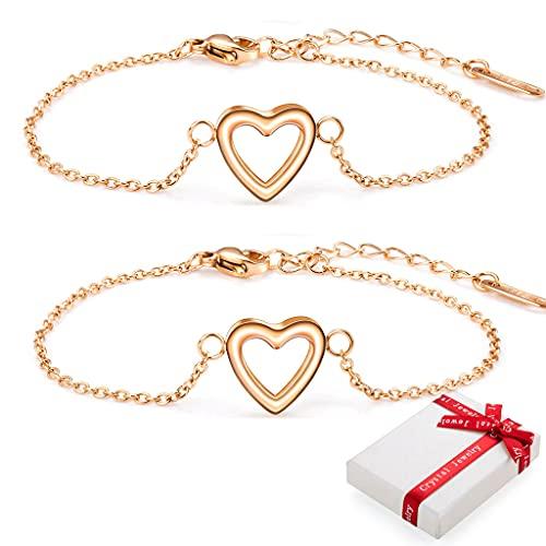 2 pulseras de oro rosa con corazones para mujer con colgante de corazón, pulsera de acero inoxidable, pulsera de la amistad de titanio